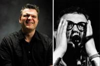 Bild links: Dorfgespräch mit George Nussbaumes © Marcel Hagen, Bild rechts: Josef Hader